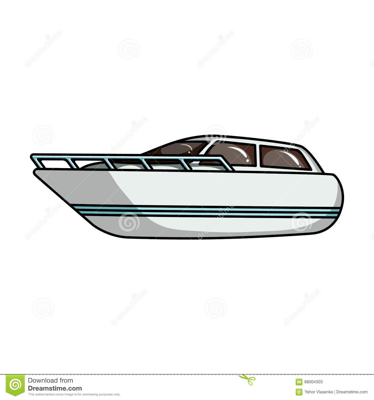 Cartoon Outboard Motors : White motor boat to transport a few people one of the