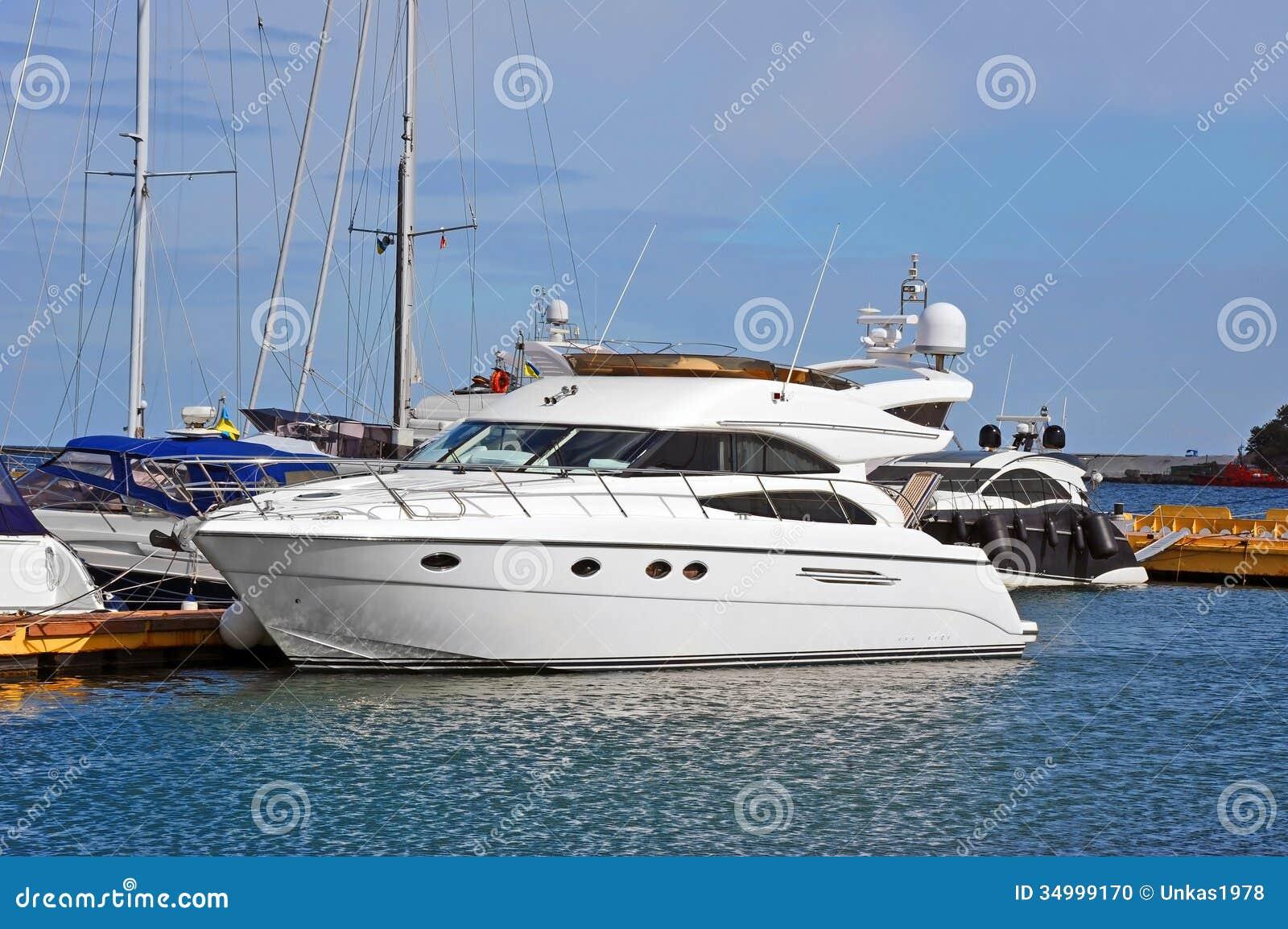 White Motor Yacht Stock Photo Image 34999170