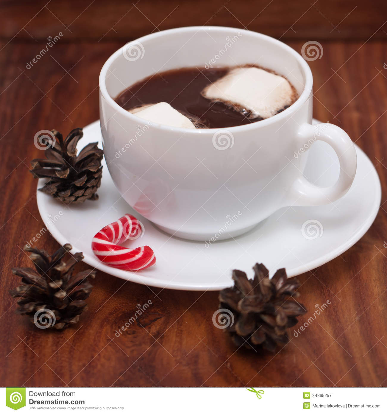 white mugs with hot chocolate  marshmallows and christmas