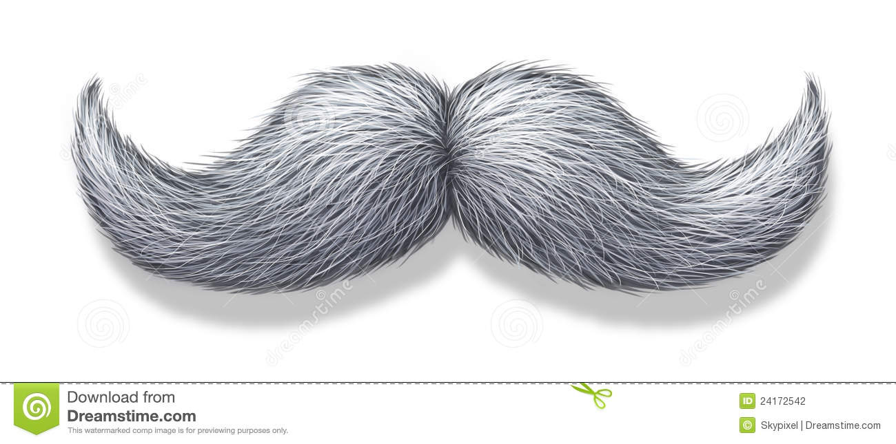 White moustache or grey hair mustache on a white background with a ...