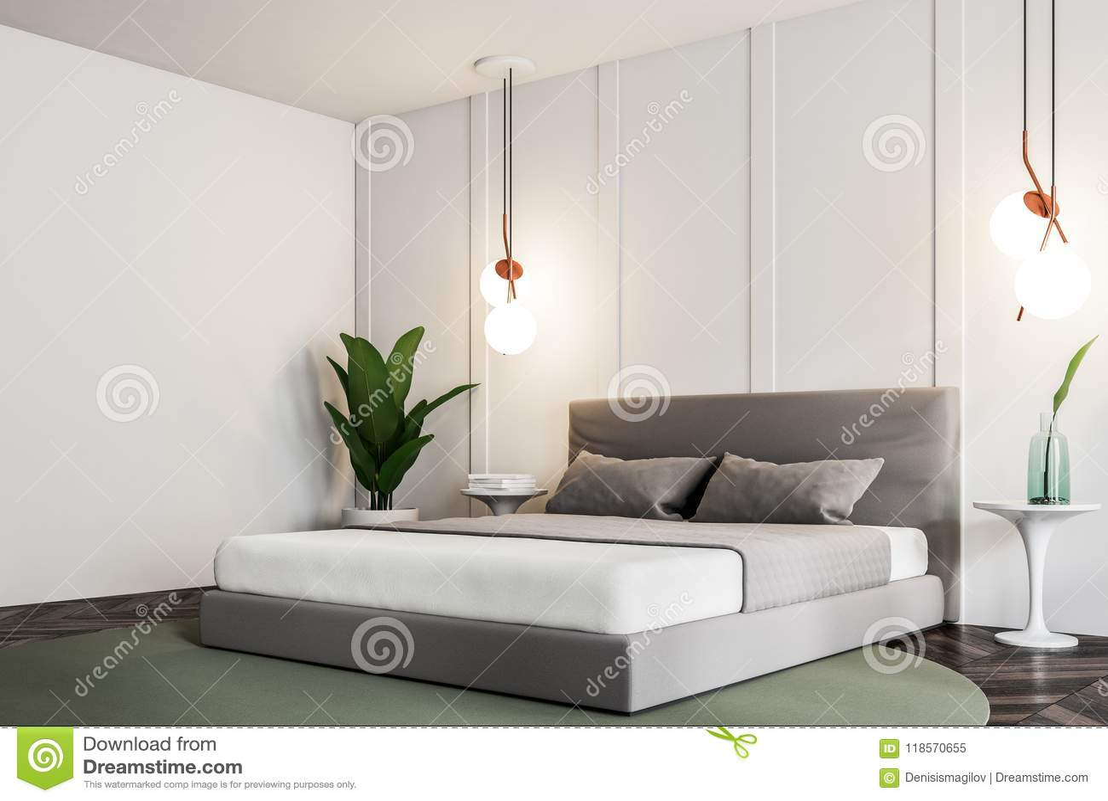 White Nature Style Bedroom Corner Stock Illustration Illustration