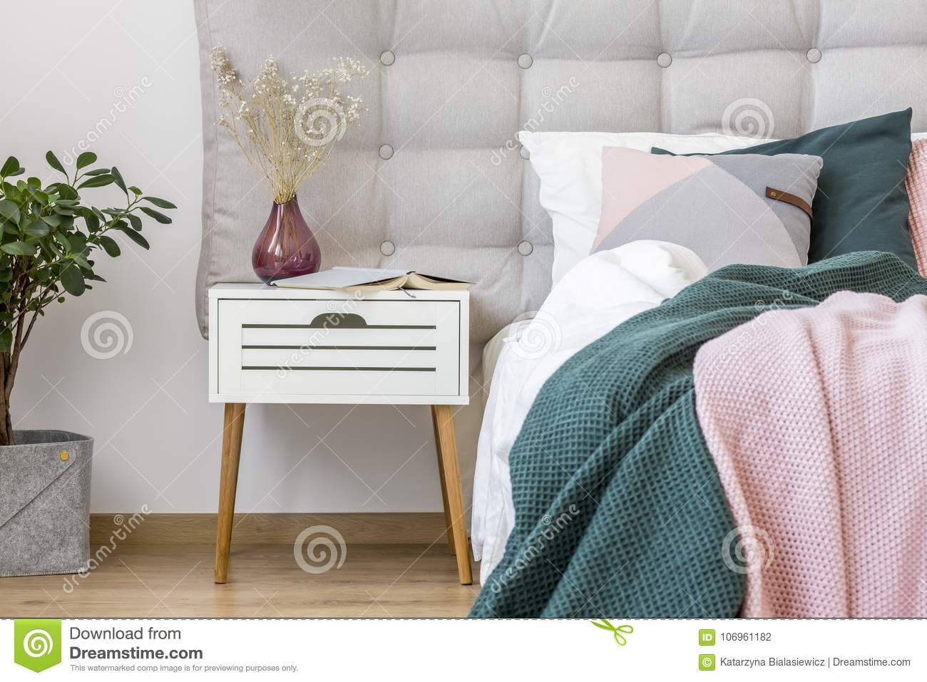 White Nightstand In Pastel Bedroom Stock Photo Image Of Pink Green 106961182
