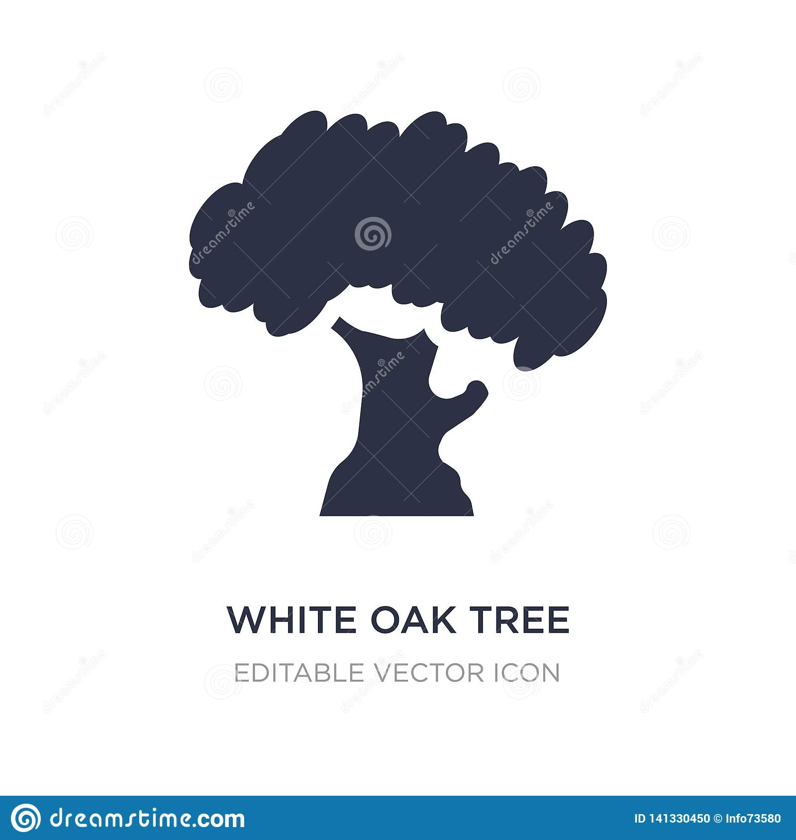 white oak tree icon on white background. Simple element illustration from Nature concept