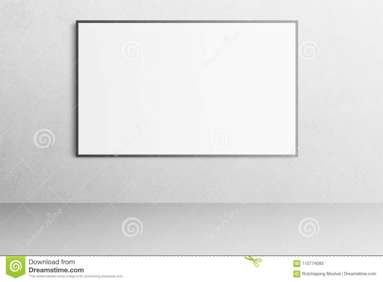 White office interior with blank poster mockup on the wall.