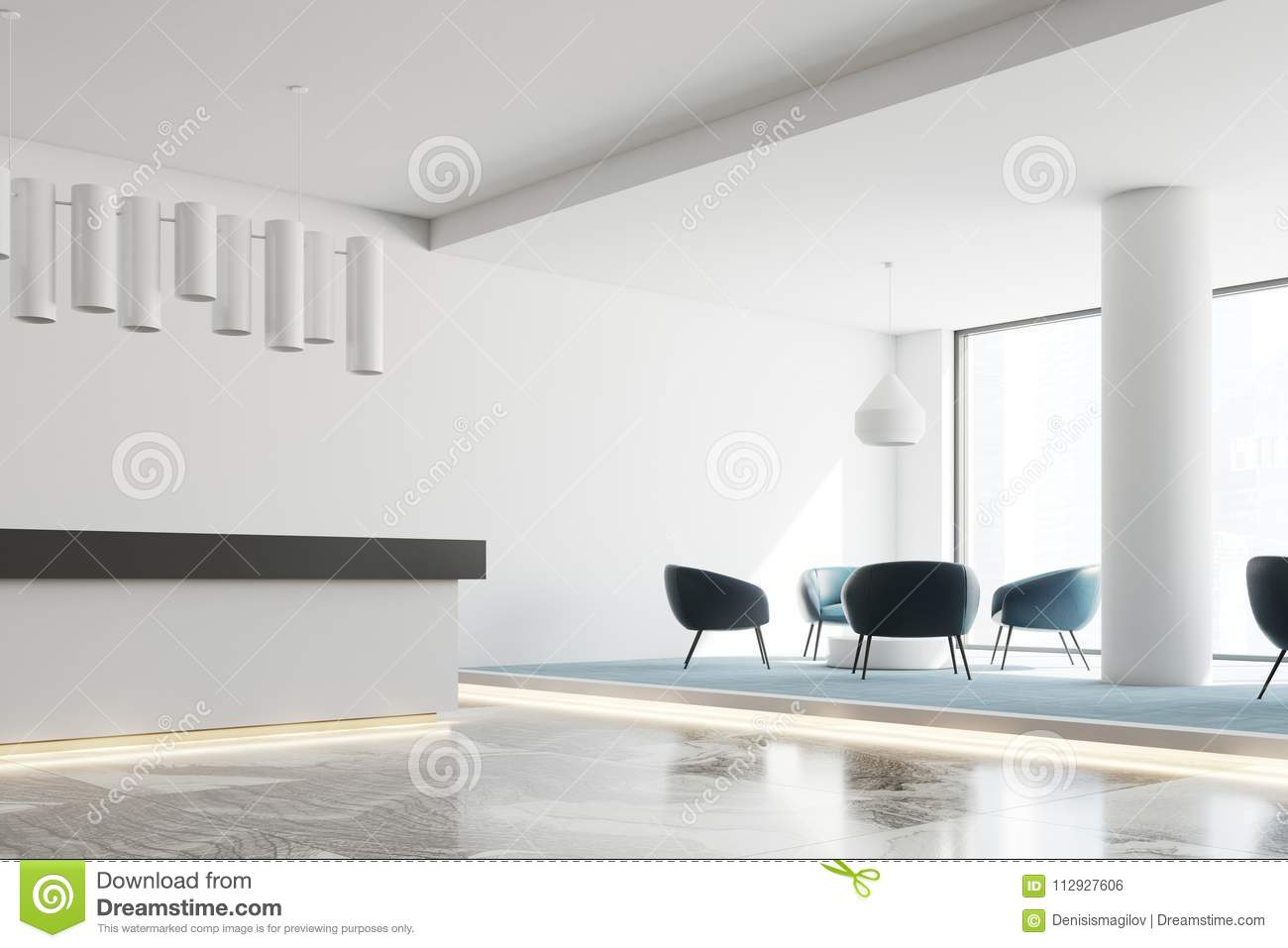 office reception interior. White Office Reception Desk And Waiting Area Interior