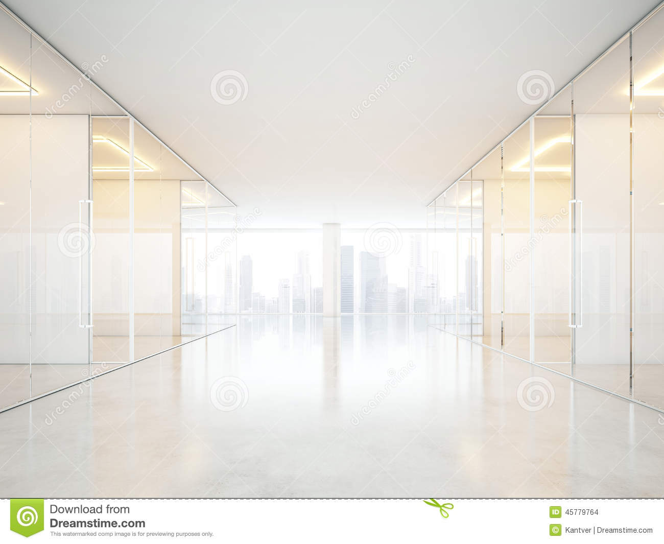 Interior office windows - White Office Interior With Panoramic Windows Stock Photo