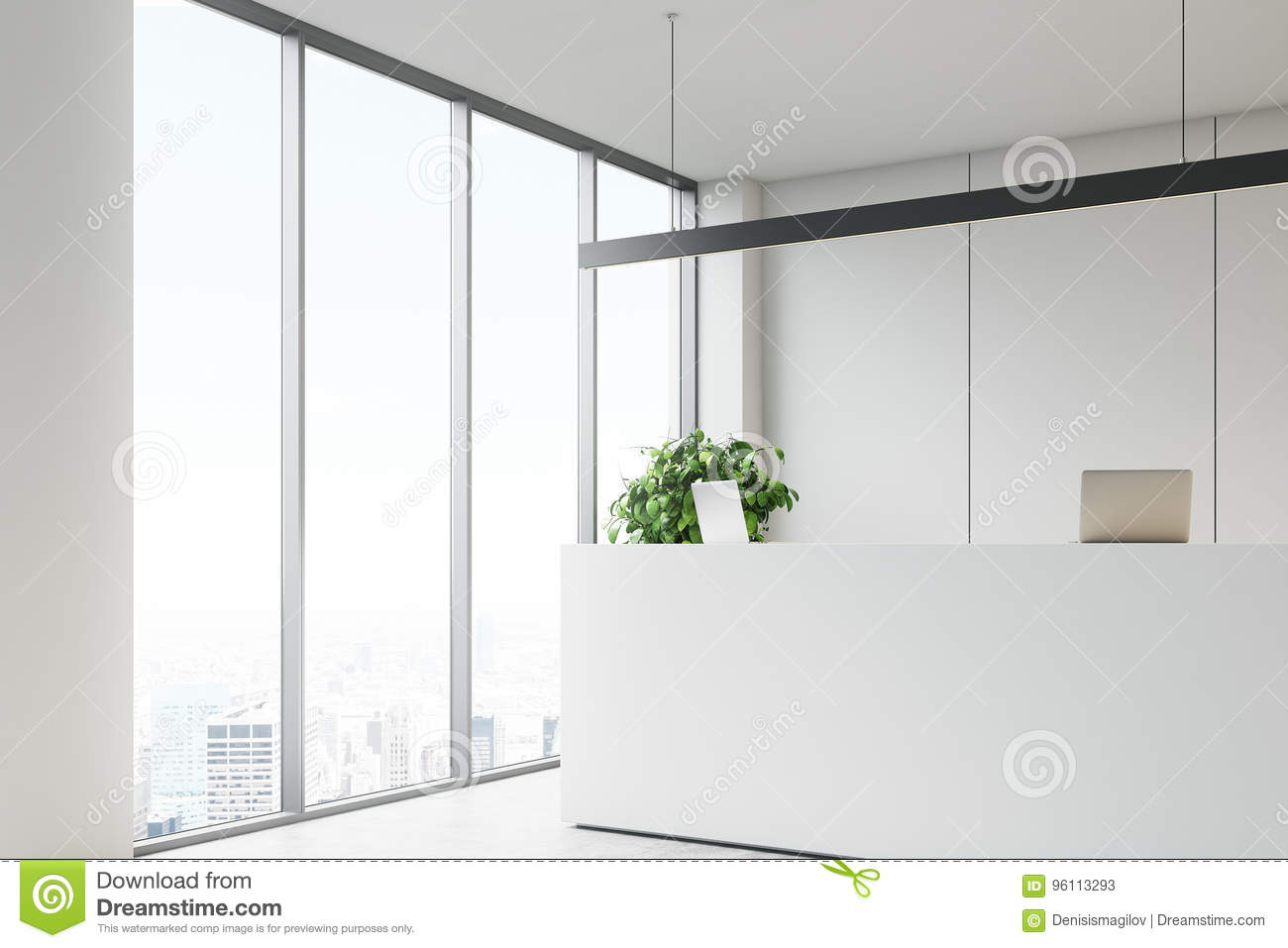 office reception desk. White Office With A Reception Desk, Side View Desk