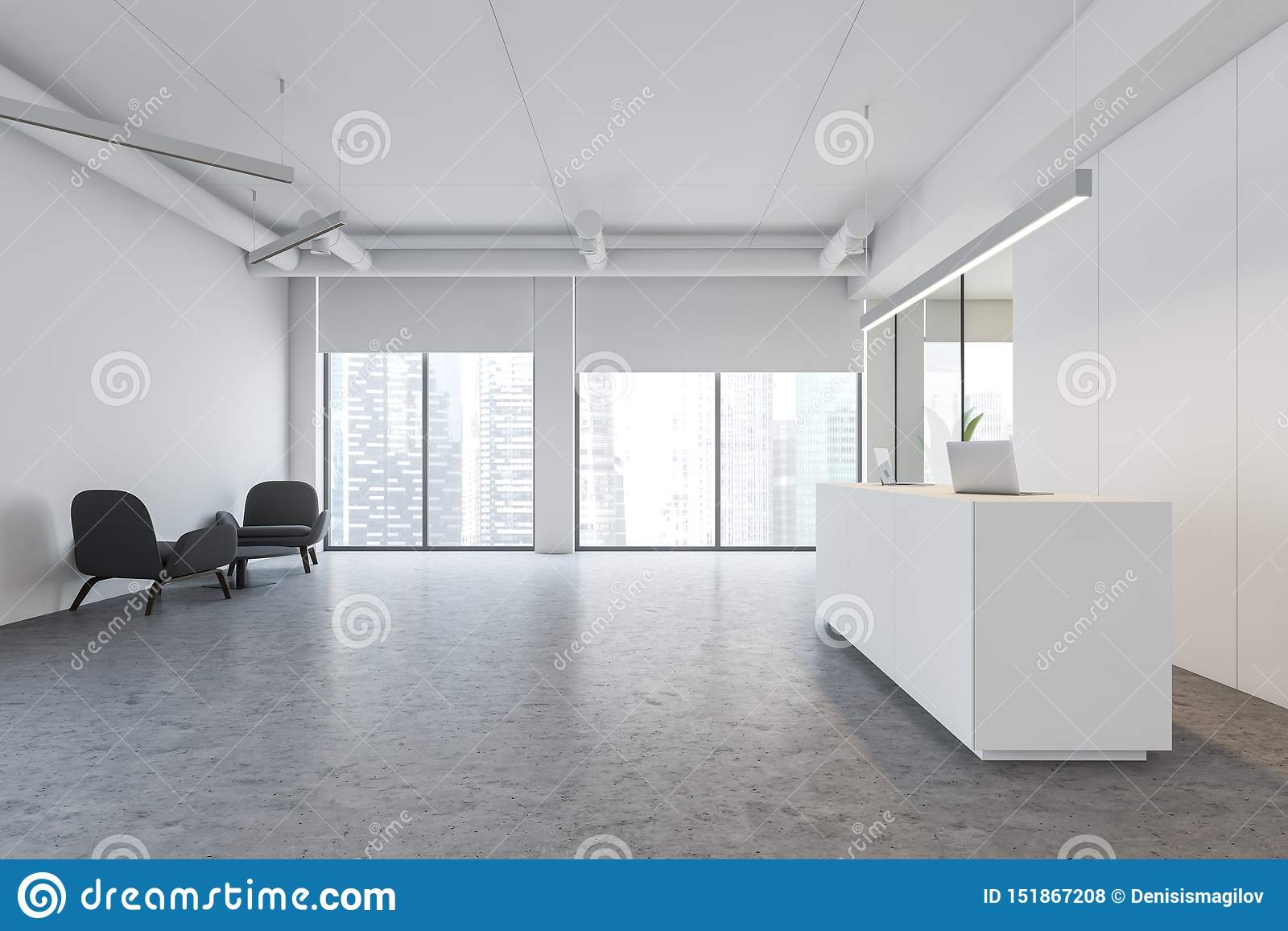 White Office Reception Table And Lounge Stock Illustration