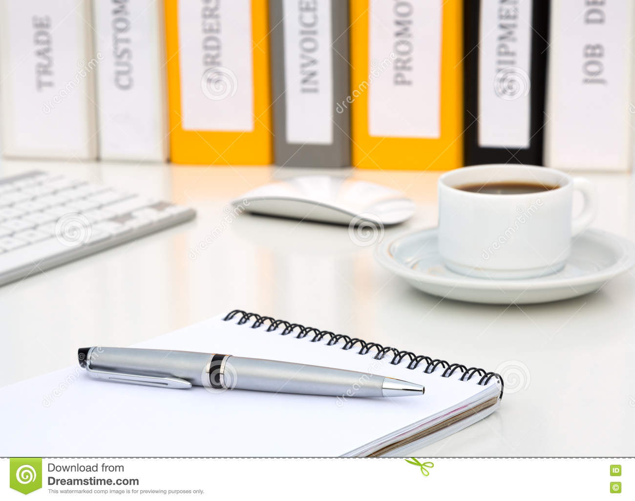 White Office Table with Notepad Executive Class Grey Metal Pen Coffee Computer