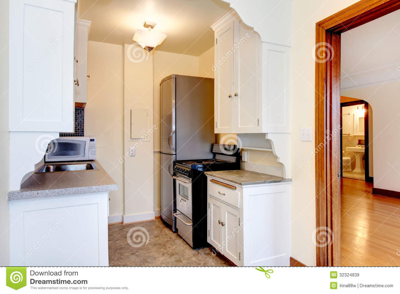 white old small apartment kitchen royalty free stock