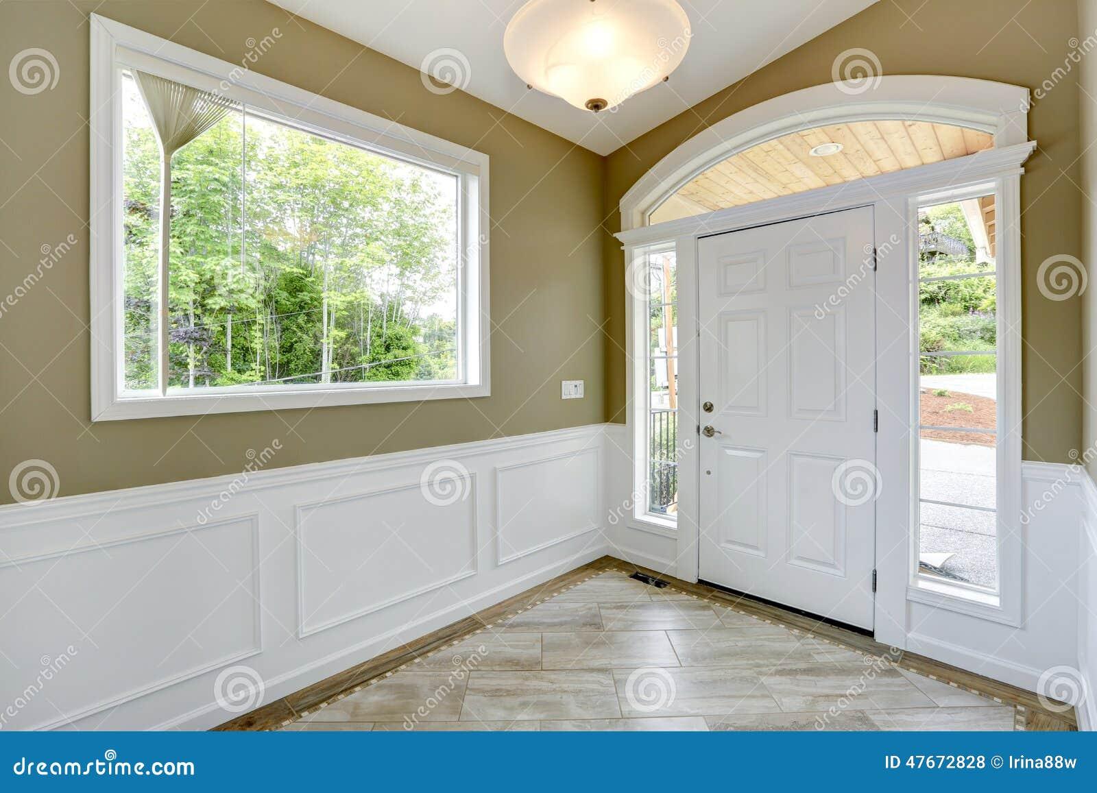 White And Olive Tones Entrance Hallway Stock Photo Image