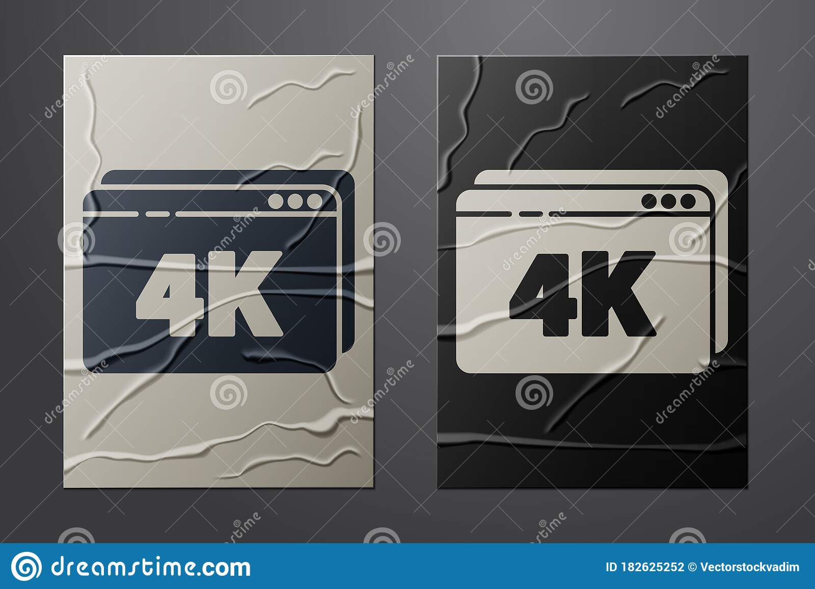 White Online Play Video With 4k Ultra HD Video Technology Icon Isolated On  Crumpled Paper Background. Film Strip With Stock Vector - Illustration of  media, movie: 182625252
