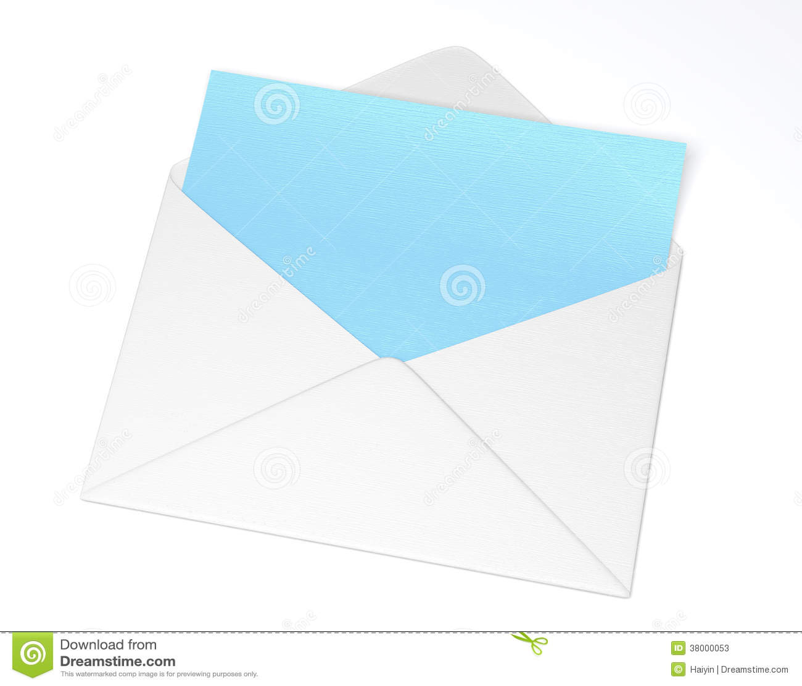 White Open Envelope With Blue Letter Stock Illustration