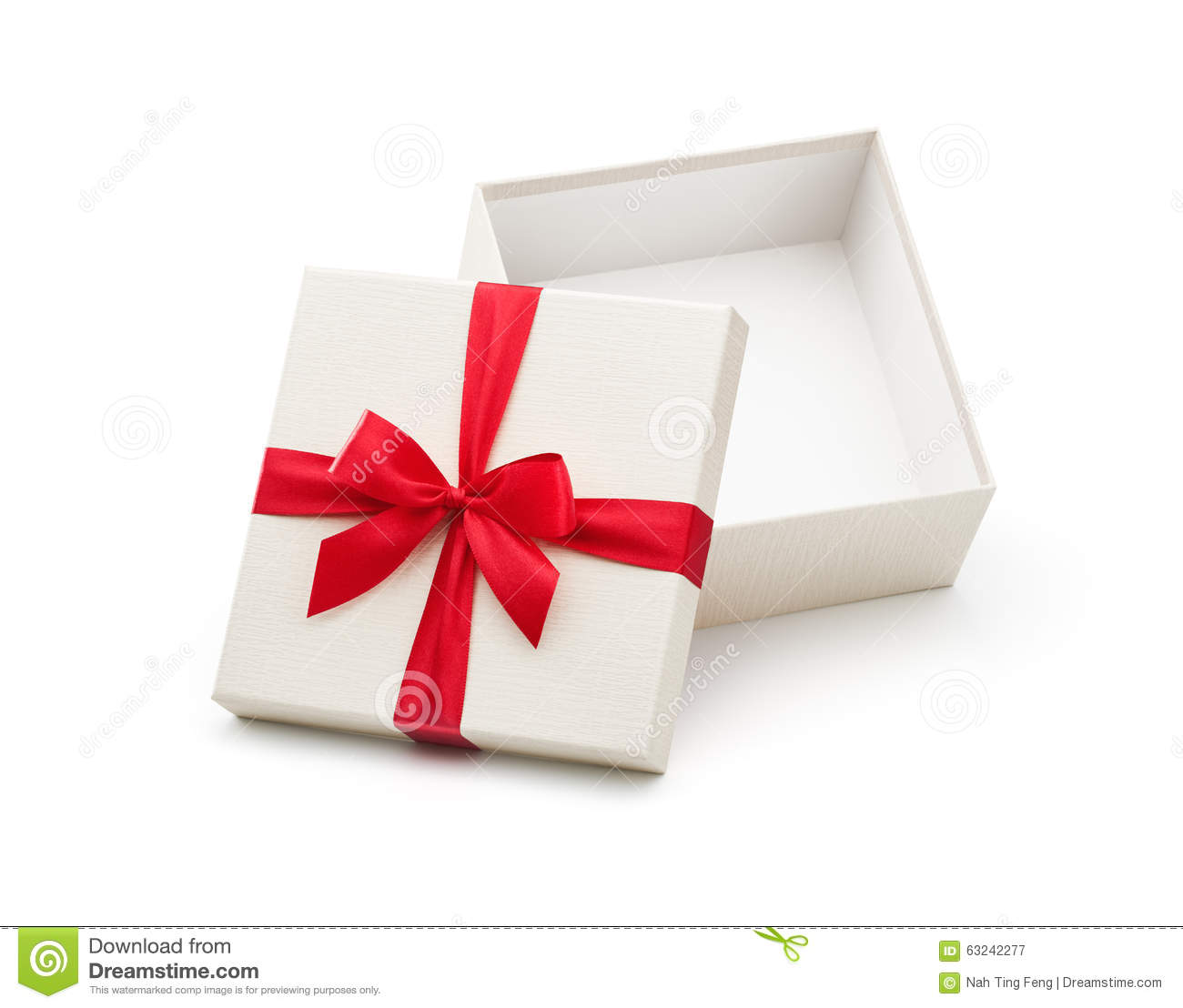 White Open Gift Box With Red Bow Stock Photo - Image: 63242277