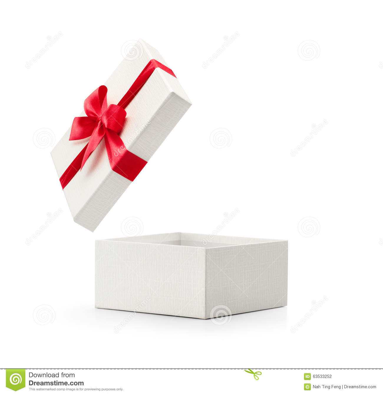 White Open Gift Box With Red Bow Stock Photo - Image: 63533252