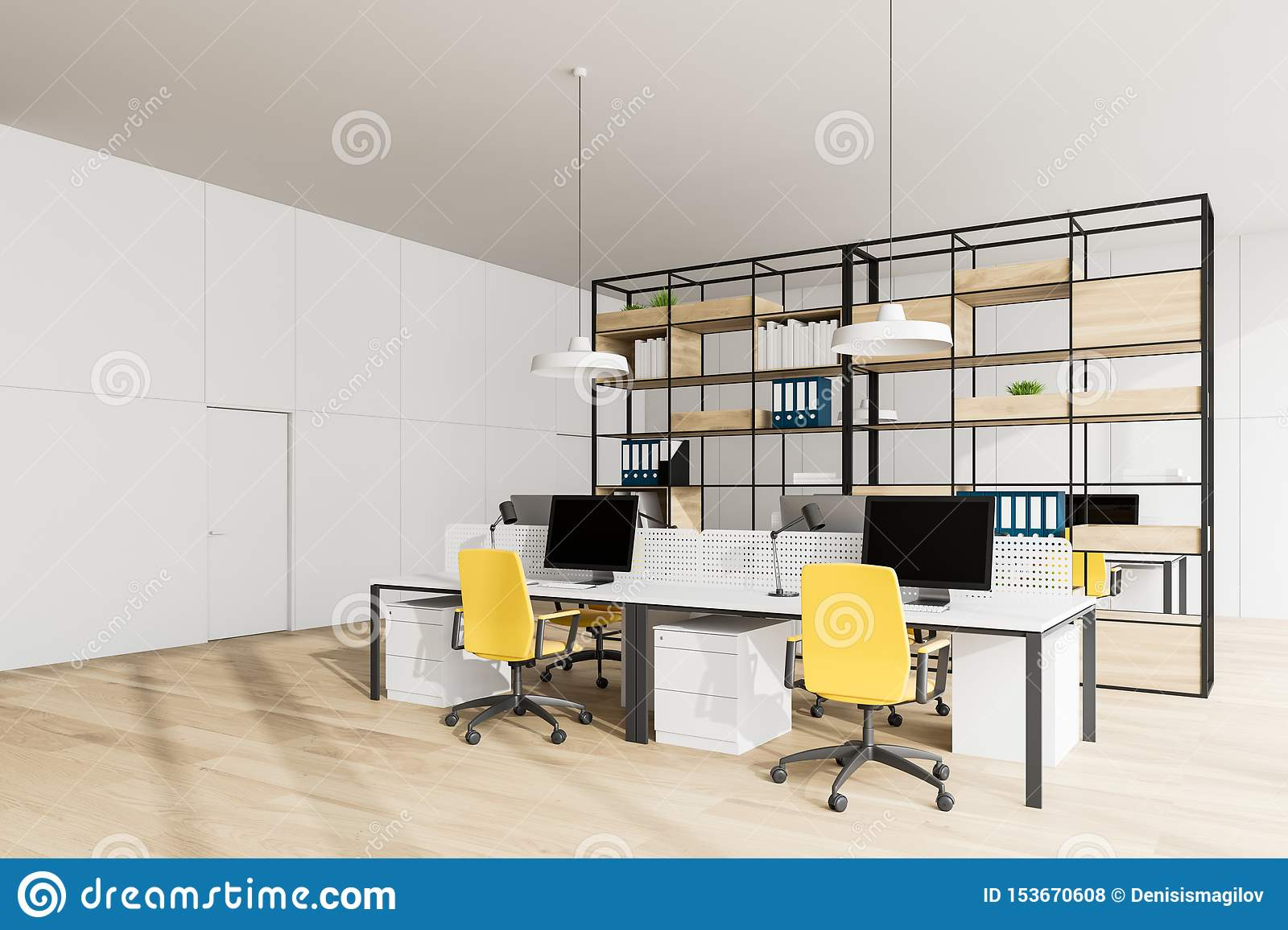 White Open Space Office Corner With Bookcase Stock