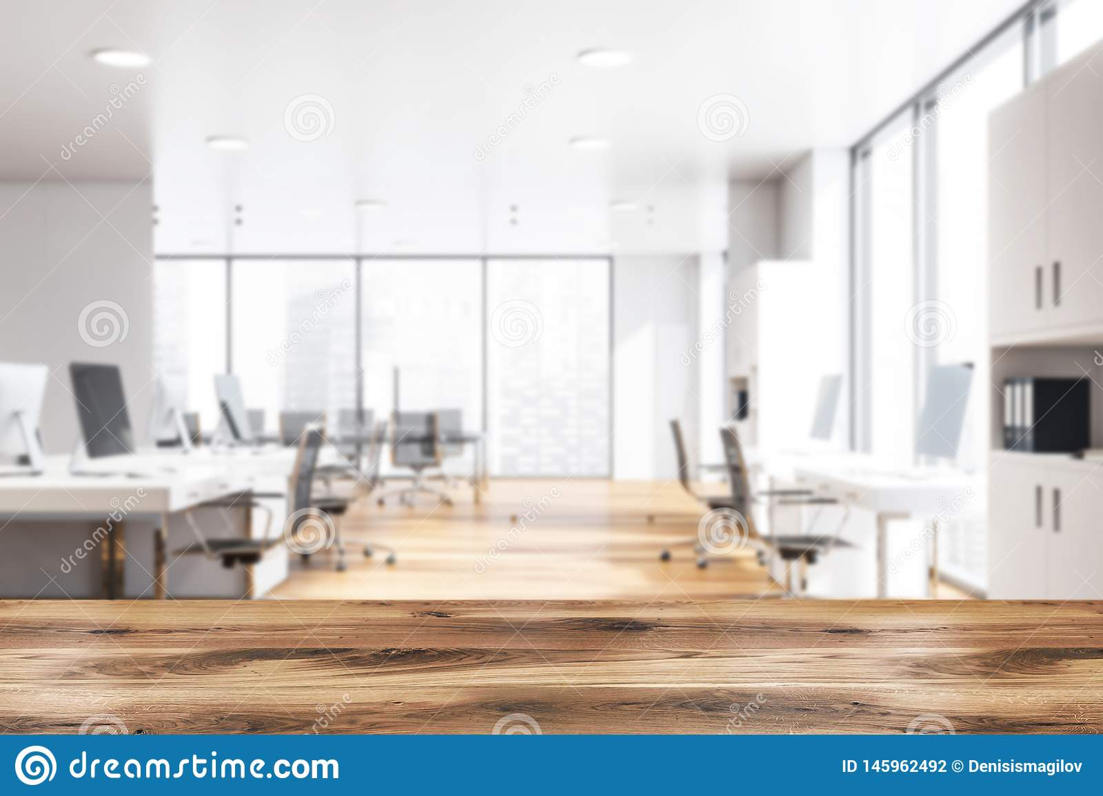 White Open Space Office Interior Meeting Room Blur Stock Illustration Illustration Of High Background 145962492
