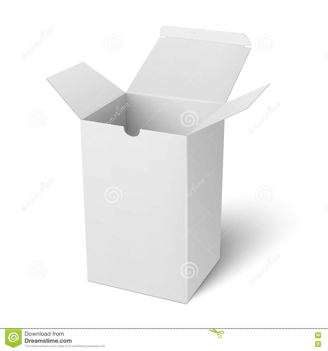 White Open Vertical Paper Box Template