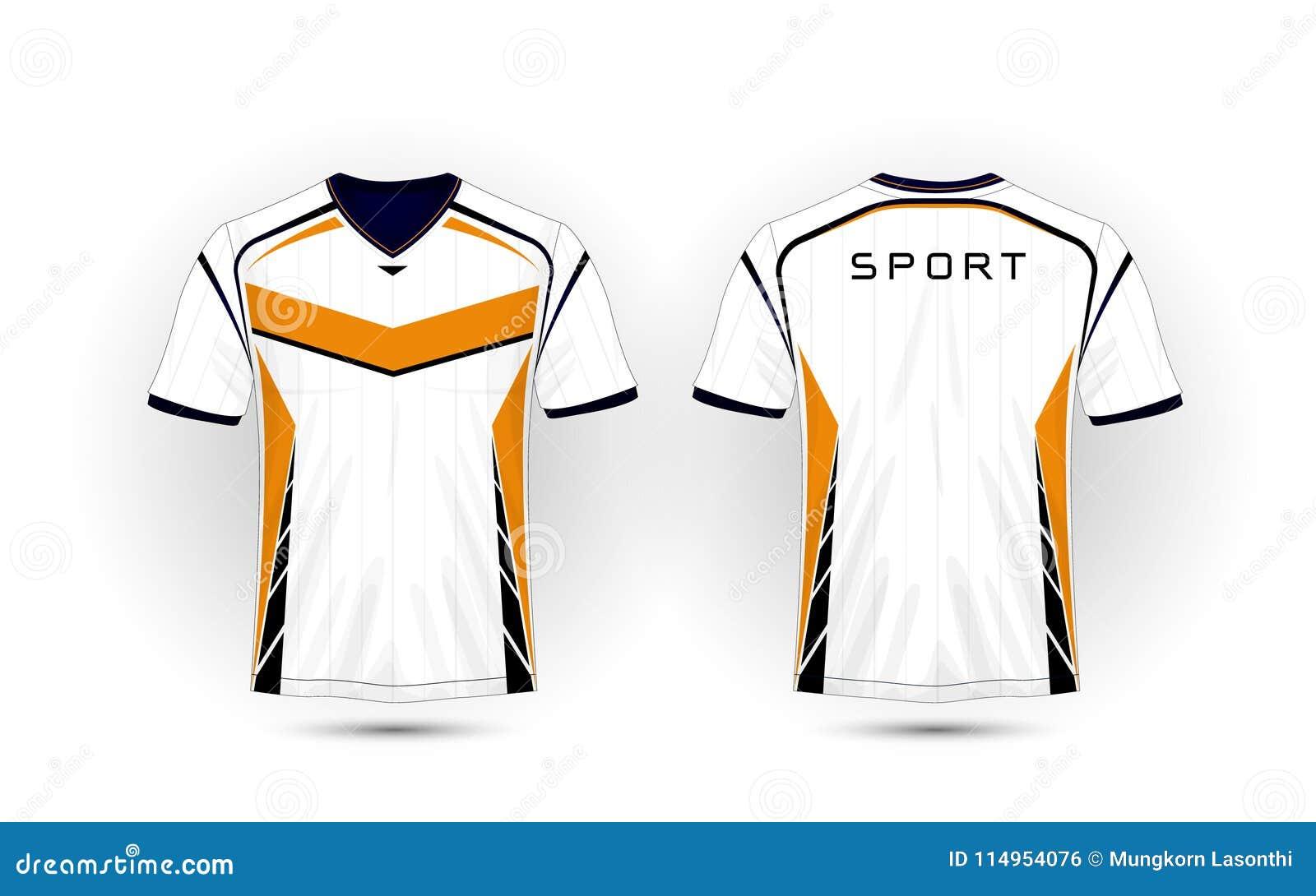 White, Orange And Black Layout Football Sport T-shirt, Kits