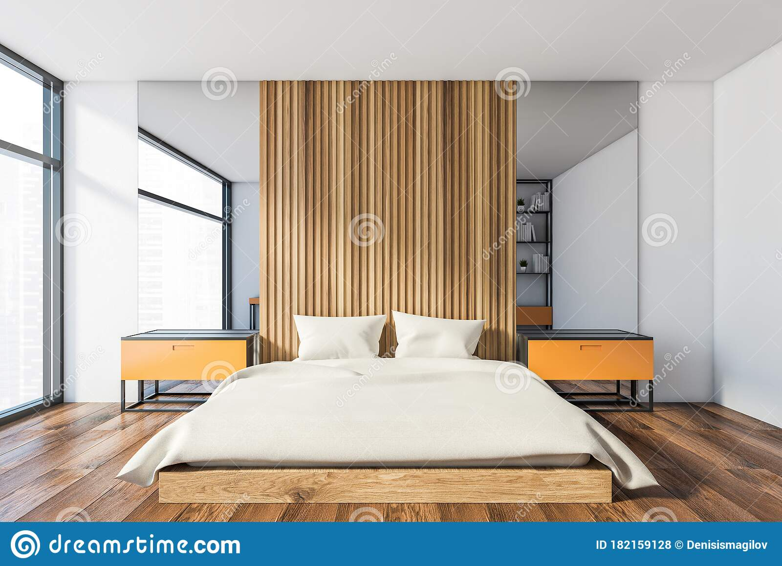 White And Orange Master Bedroom With Mirror Stock Illustration Illustration Of Empty Furniture 182159128