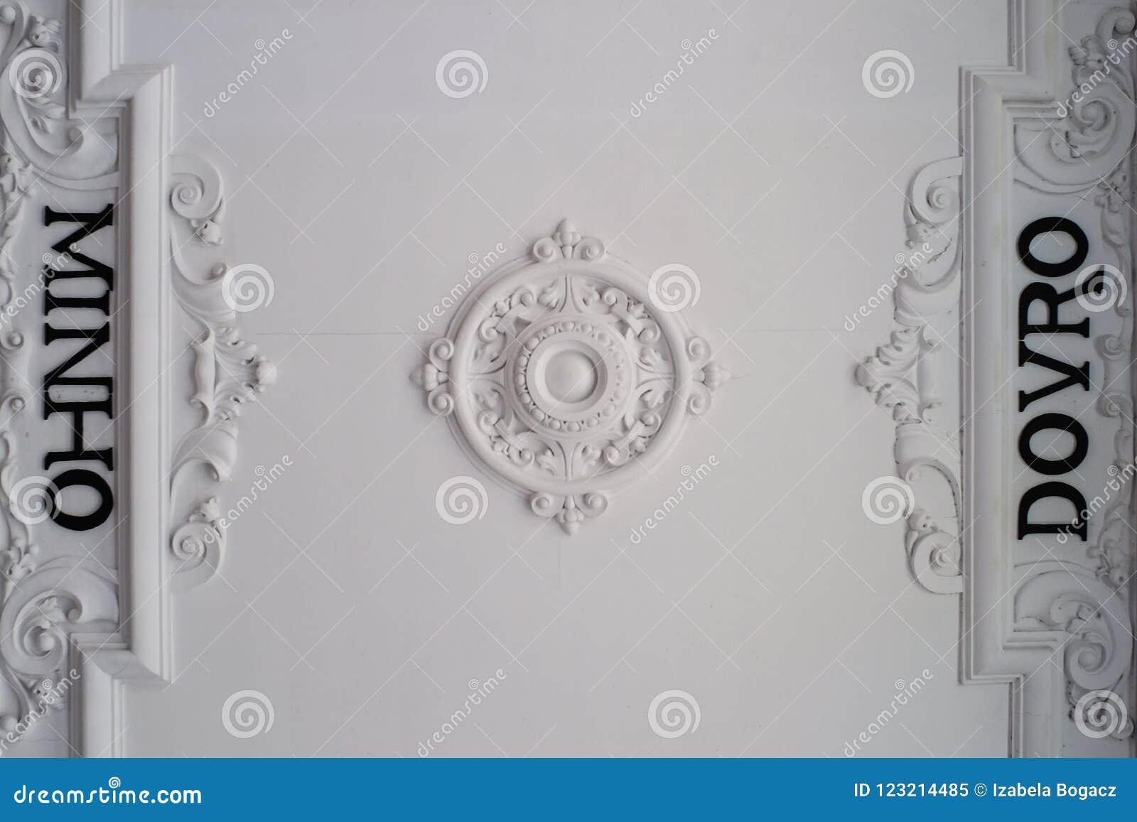 Ornamental Ceiling Of Sao Bento Train Station In Porto, Portugal