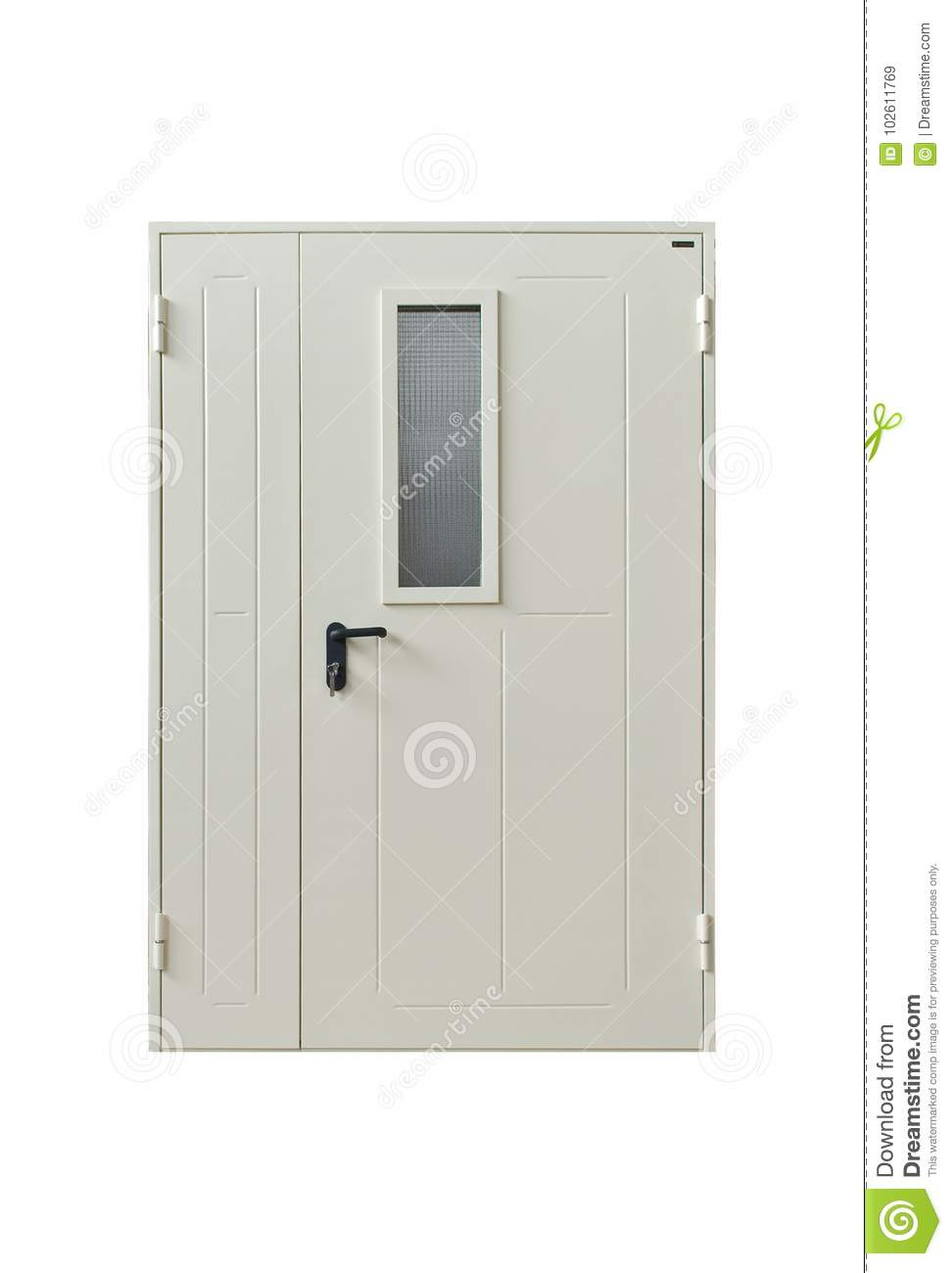 White Outside Door With Long Handle And Glass Stock Image Image Of