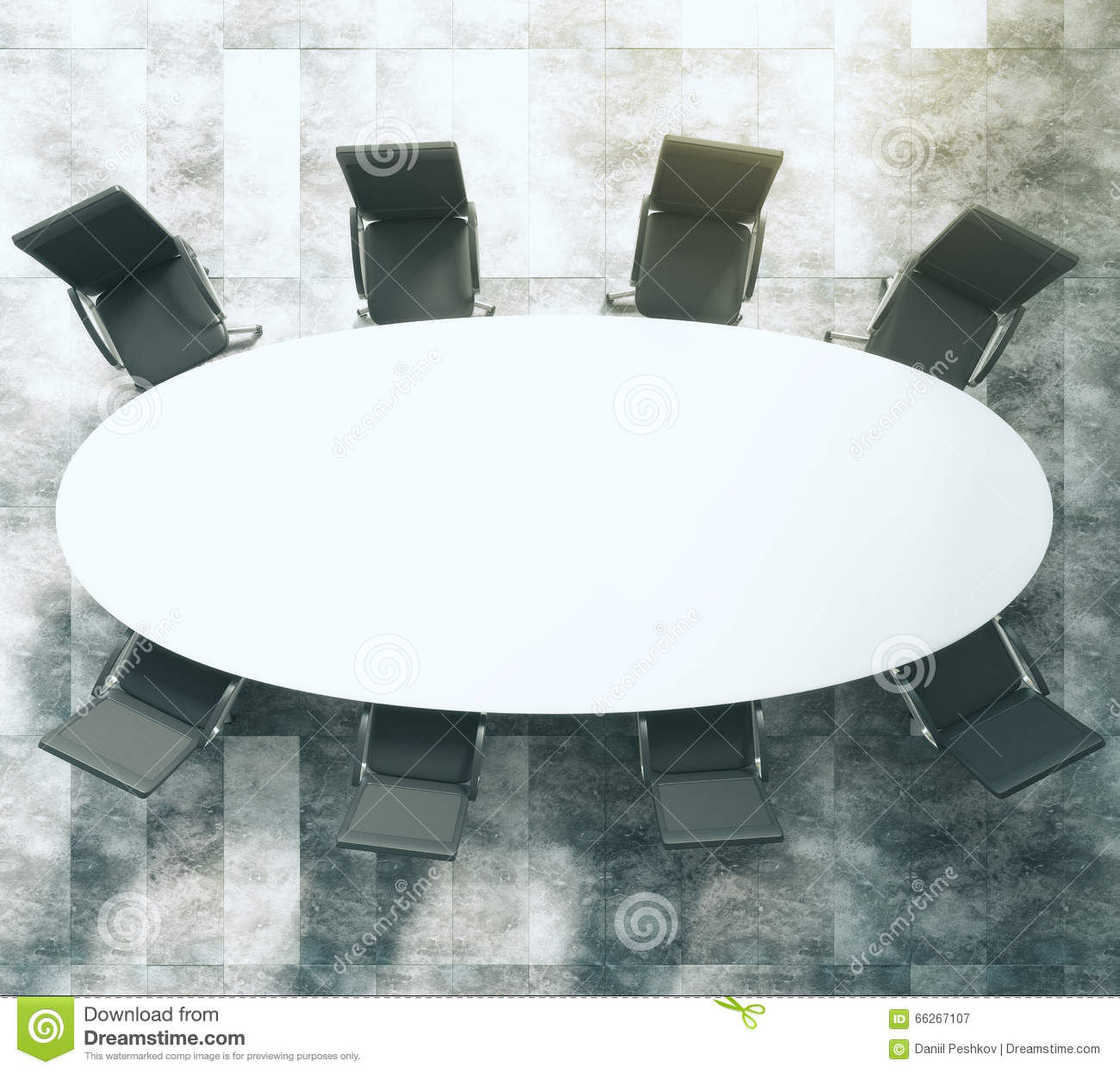 Superieur Download White Oval Conference Table With Black Leather Chairs On Concret  Stock Illustration   Illustration Of