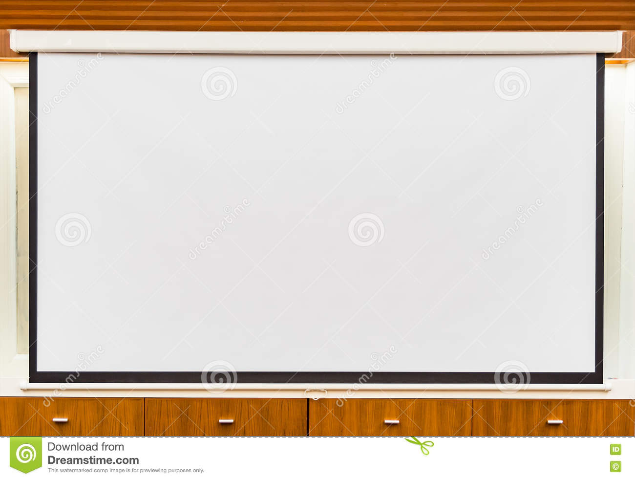 A White Overhead Projector On Ceiling In Meeting Room