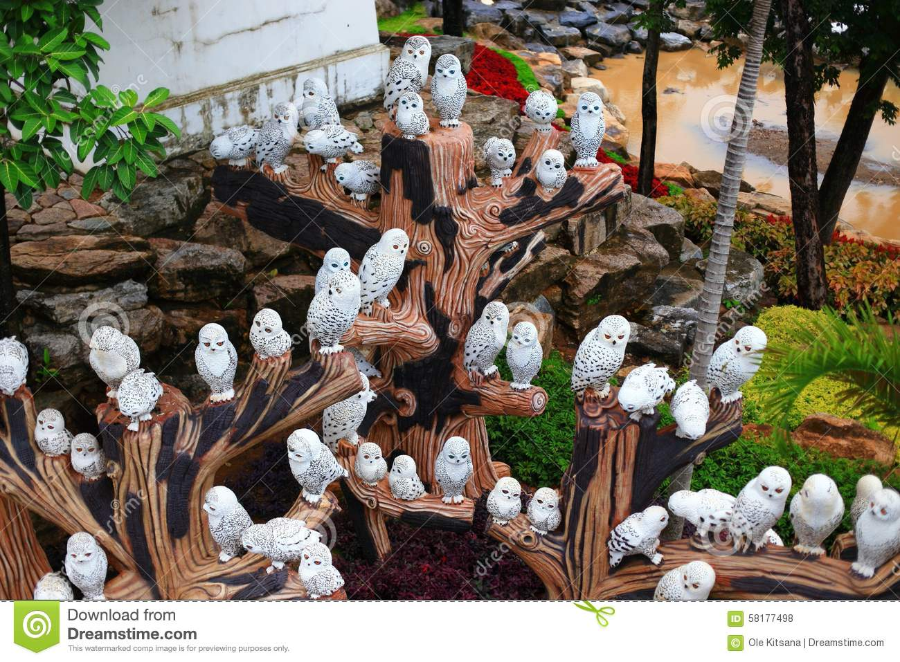 White Owl Statue In Garden Stock Photo Image 58177498