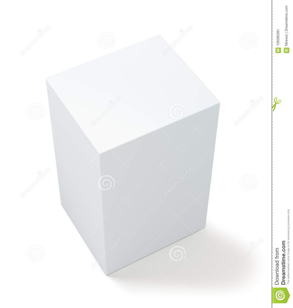 1c63b901f9 White package blank box from top front side angle. 3D illustration.  Isolated on white