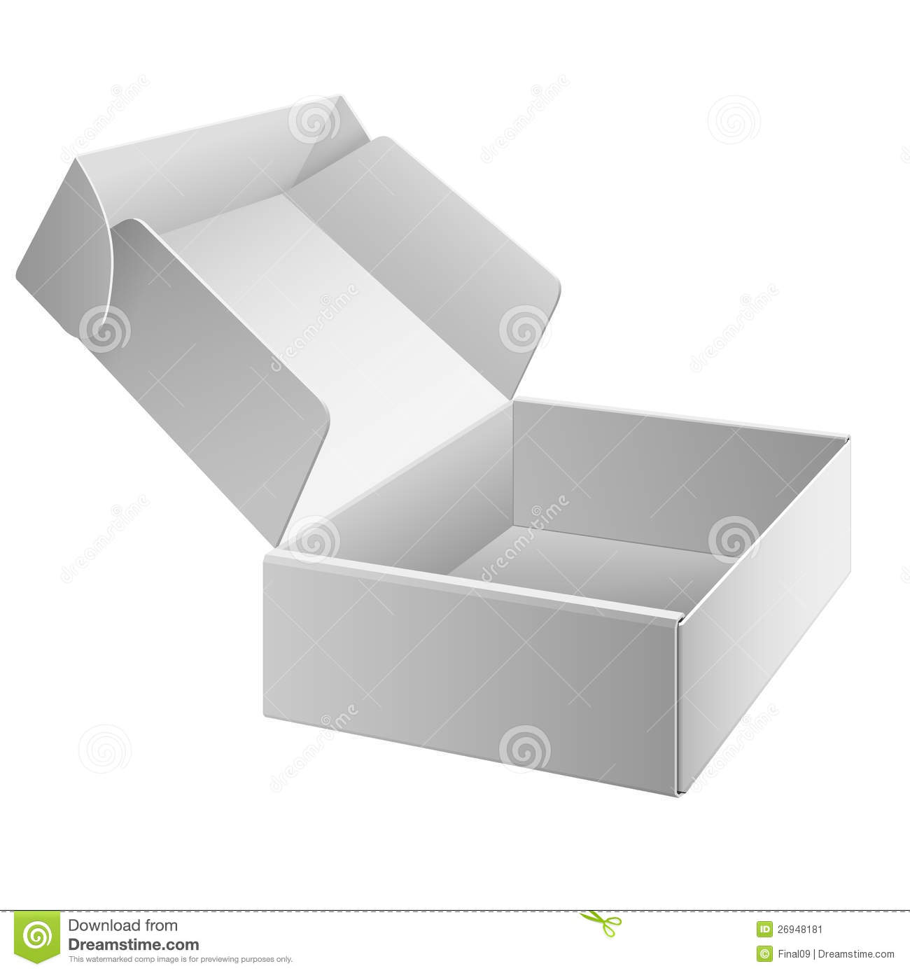 White Package Box Opened For Electronic Device Stock