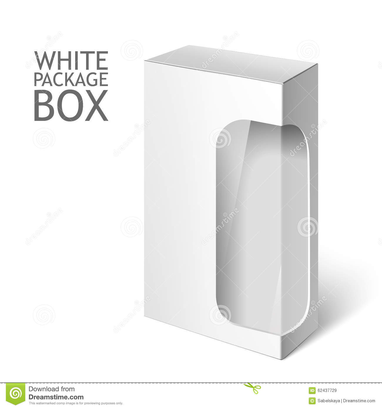 Room Design Free Software White Package Box With Window Mockup Template Stock