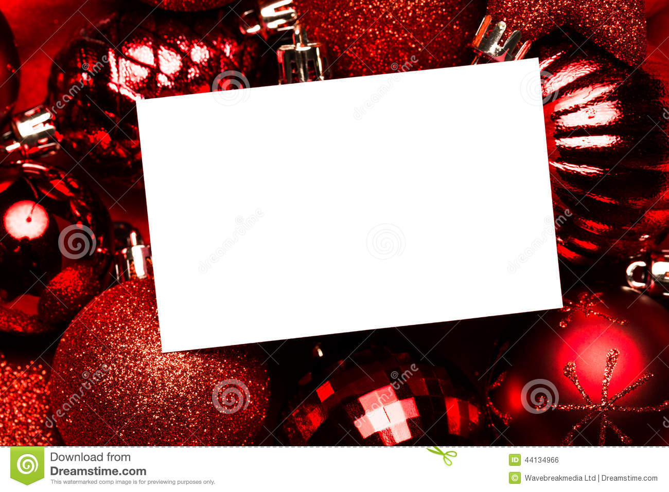White page on red christmas baubles stock photo image for White christmas baubles