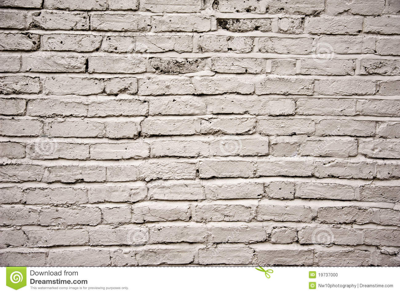 White Painted Aged Outside Brick Wall Texture Stock Photo