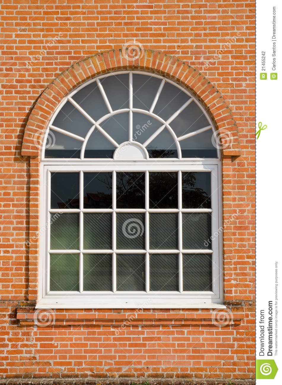 White Painted Wood Arched Window Stock Photography Image