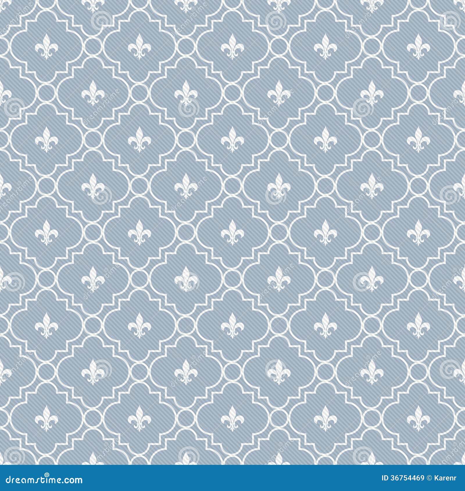 White And Pale Blue Fleur De Lis Pattern Textured Fabric