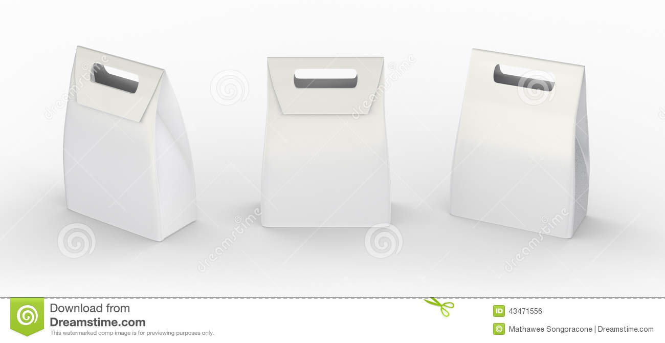 White Paper Bag Folded Package With Handle, Clipping Path Inclu ...