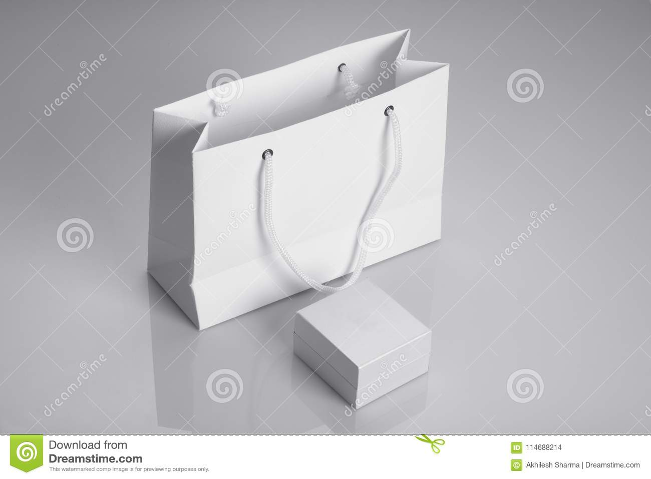 White Paper Bag And Jewelry Box For Mockups Stock Photo Image Of