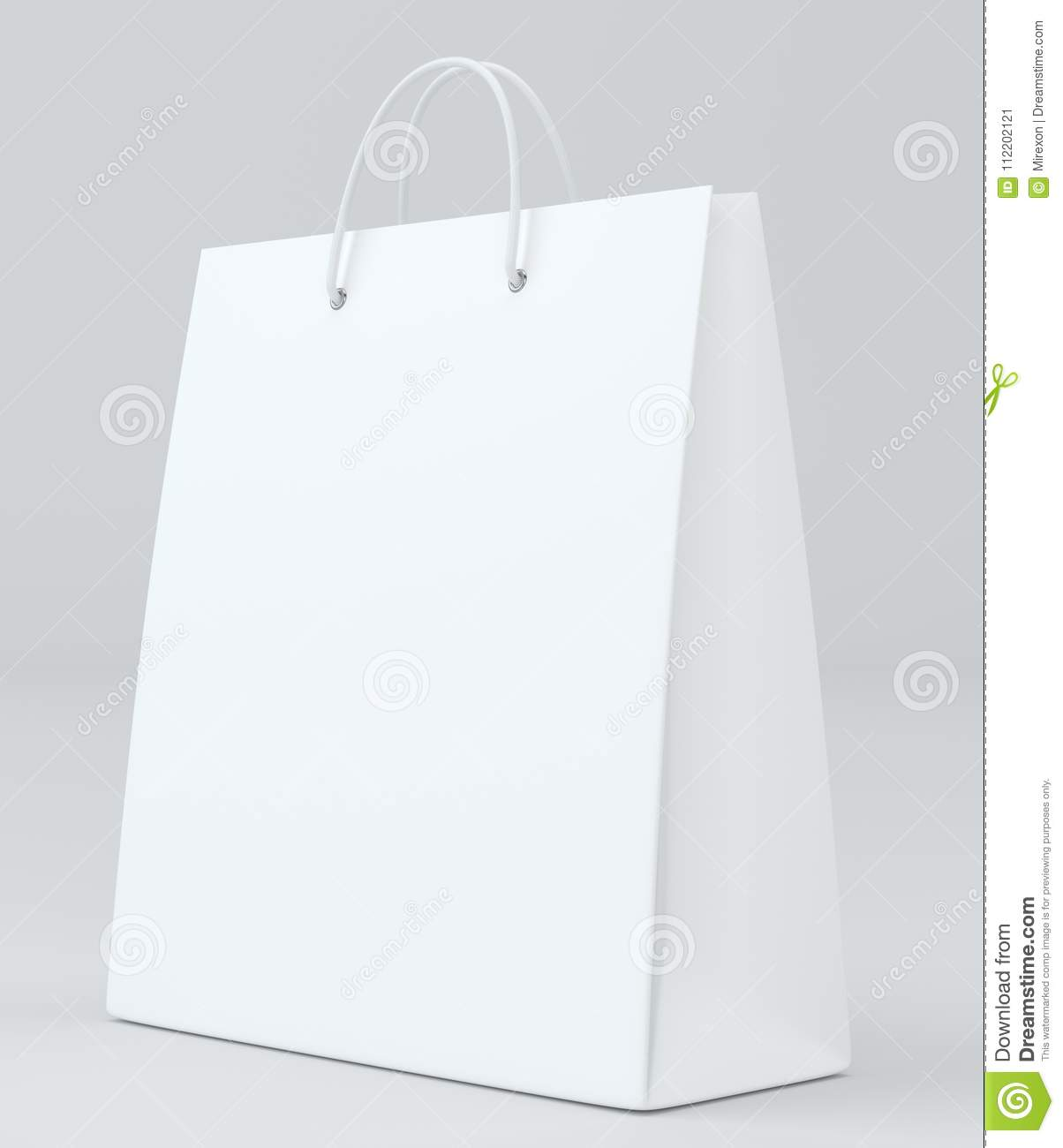 white paper bag for luxury store on studio background template