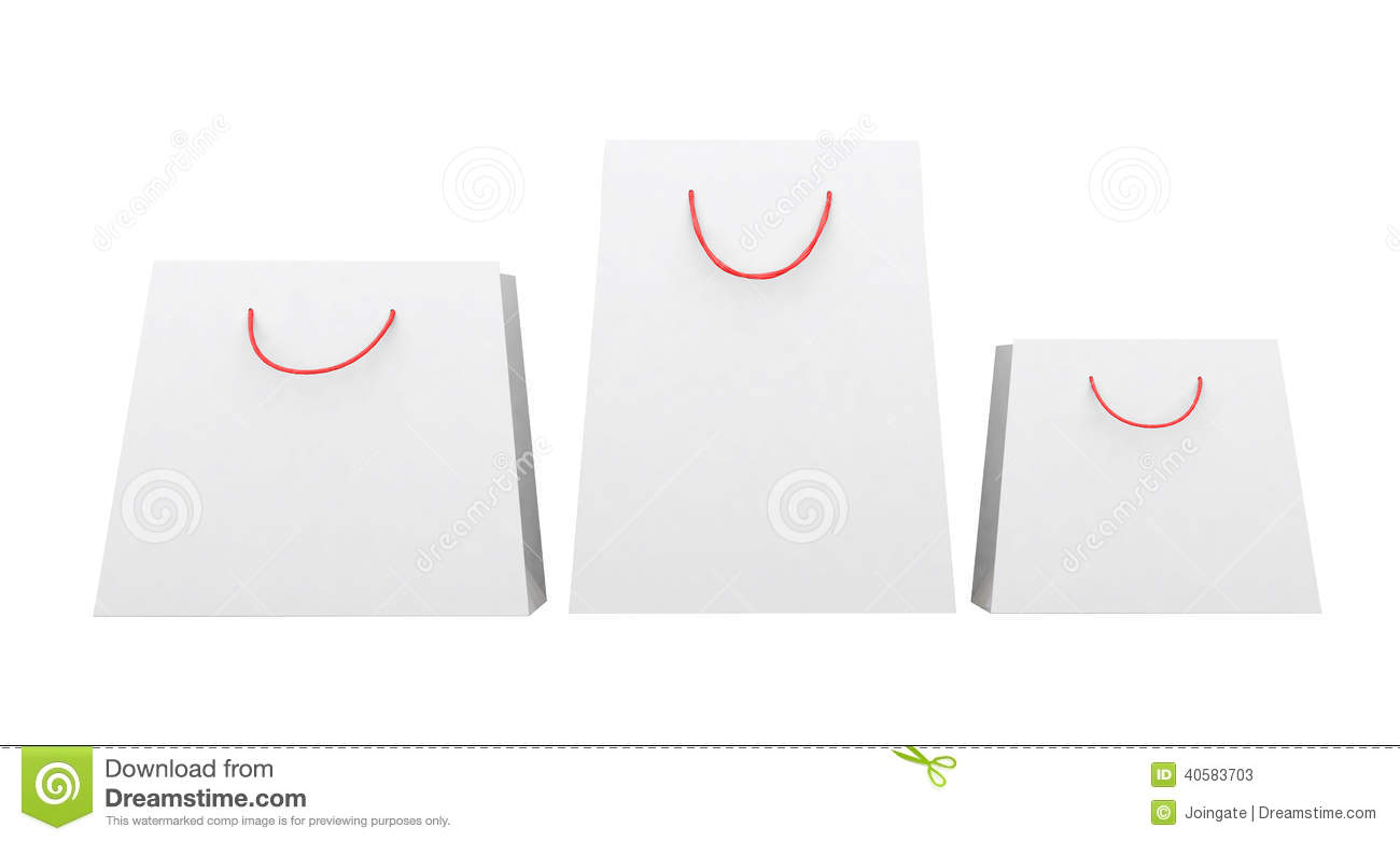 White Paper Bags Of Different Shapes Red String Handles