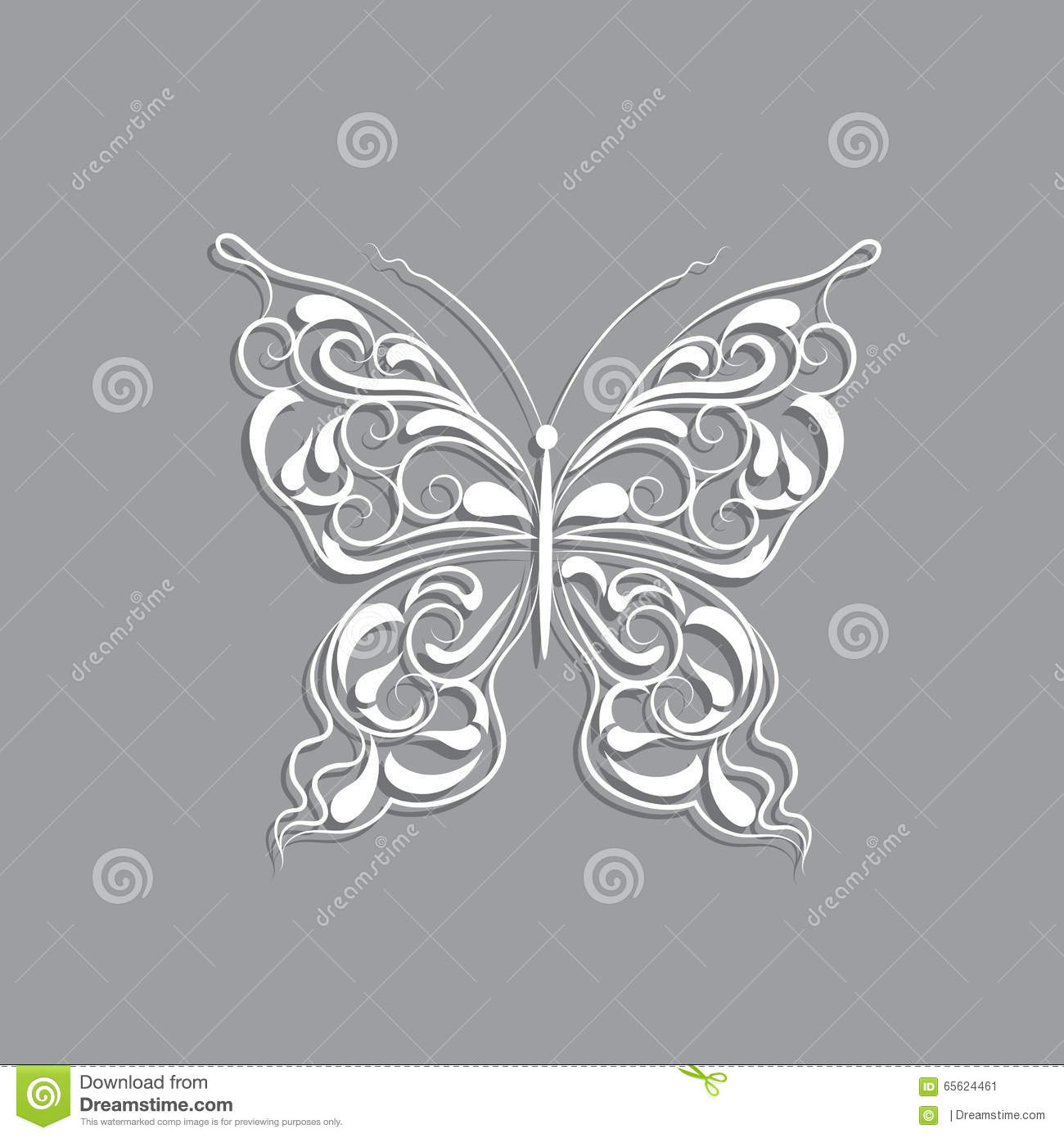 White paper butterfly with vintage pattern on gray for White paper butterflies