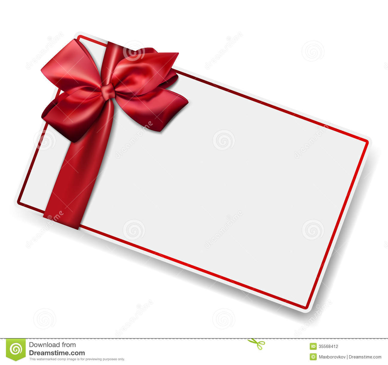 White Paper Card With Gift Red Satin Bow. Stock Photography - Image ...