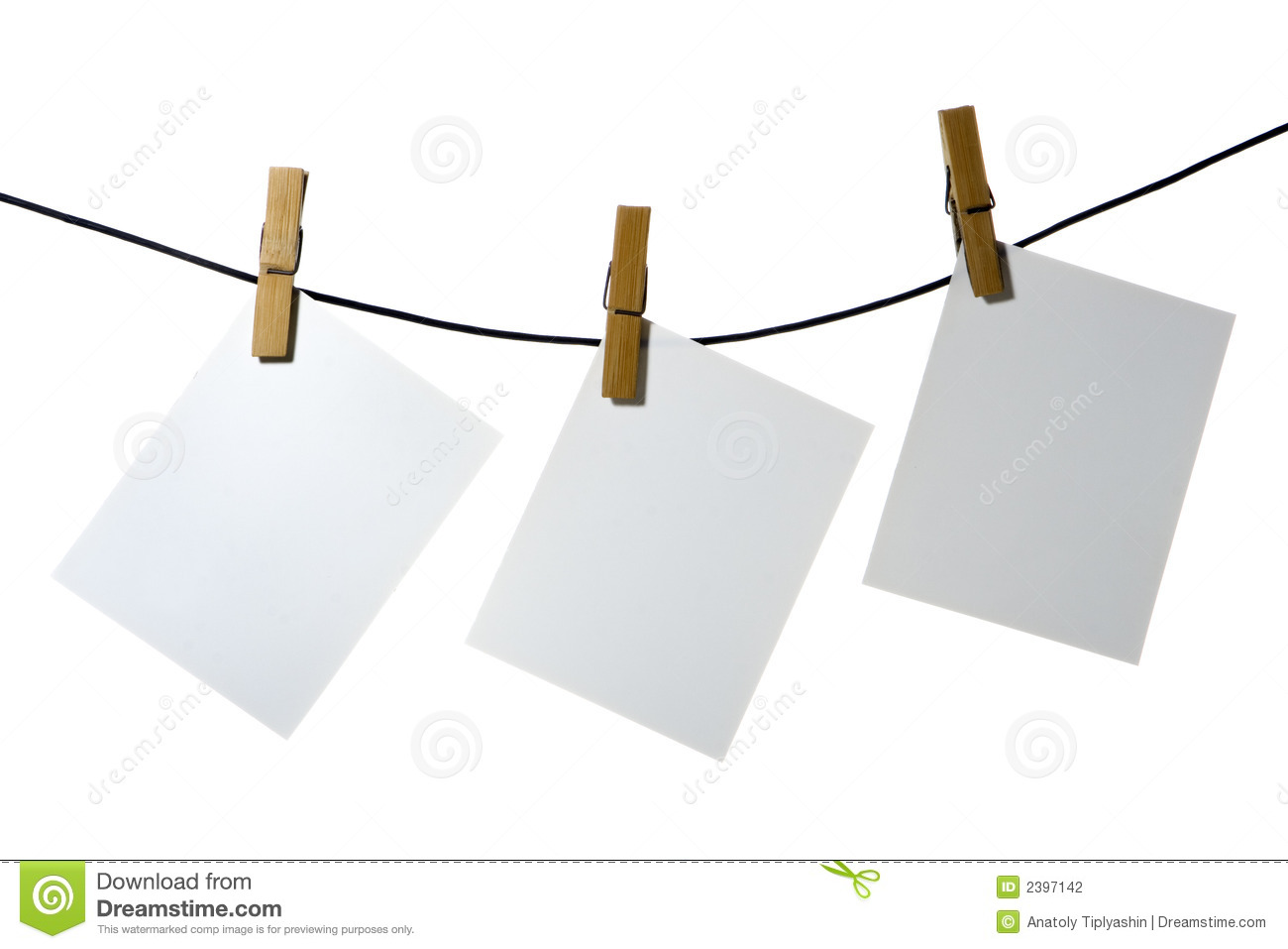 White Paper Clothes Peg Rope Stock Photography Image