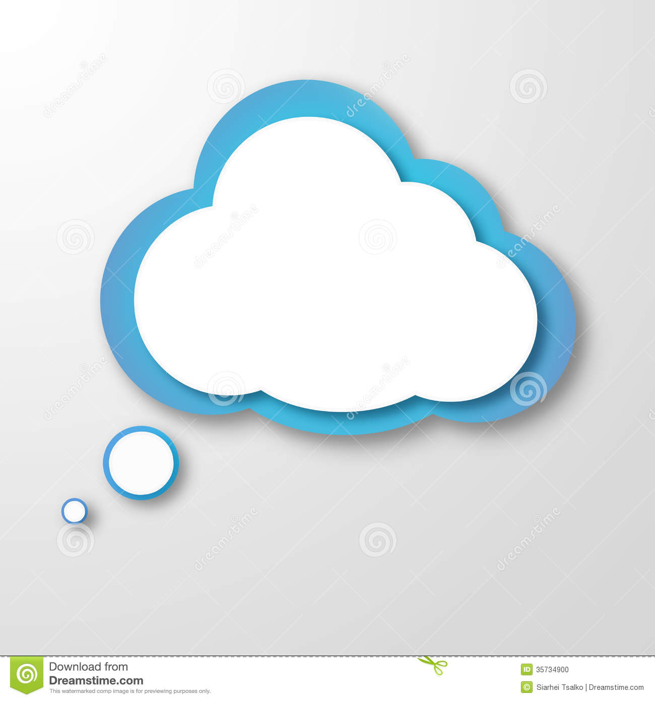 White paper clouds over gradient blue background stock for How to make a paper cloud