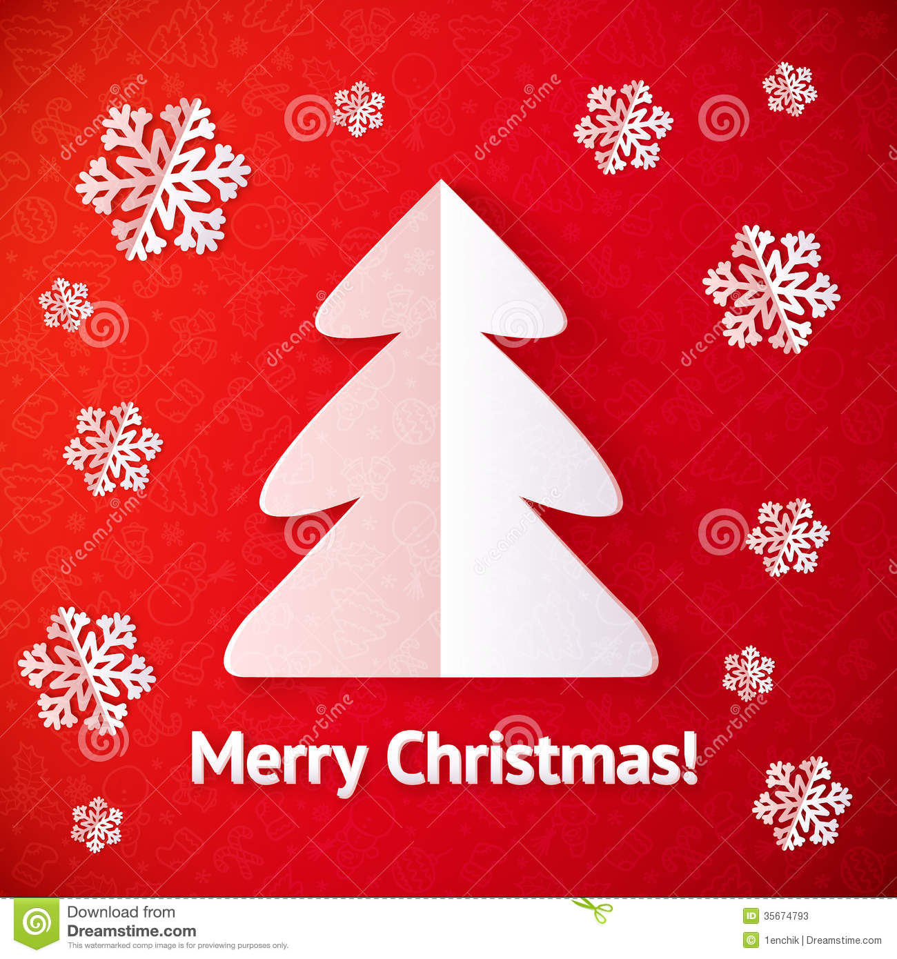 White Paper Cut Out Christmas Tree Greeting Card Stock Vector