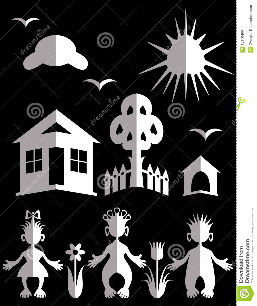 White Paper Doll Cut Outs stock vector. Image of laughable ...