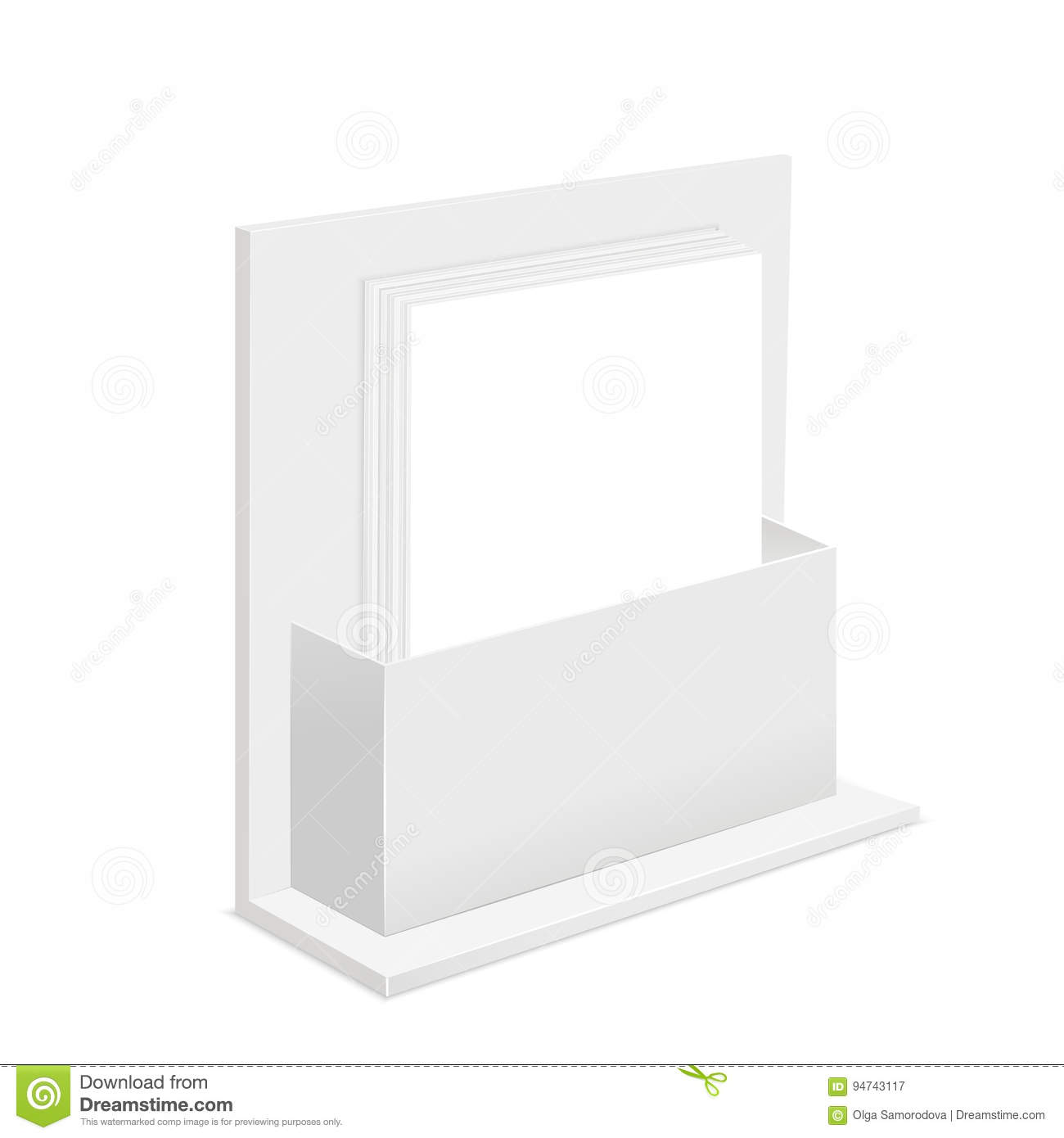White Paper Empty Blank Template And Cardboard Advertising Container