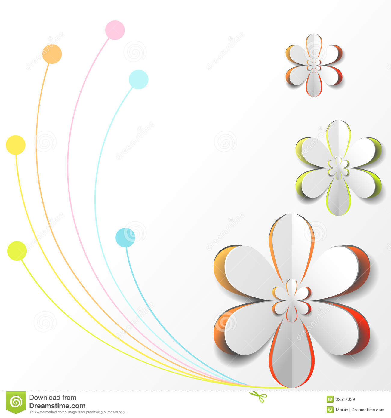 White Paper Flower On Colorful Background Royalty Free ...