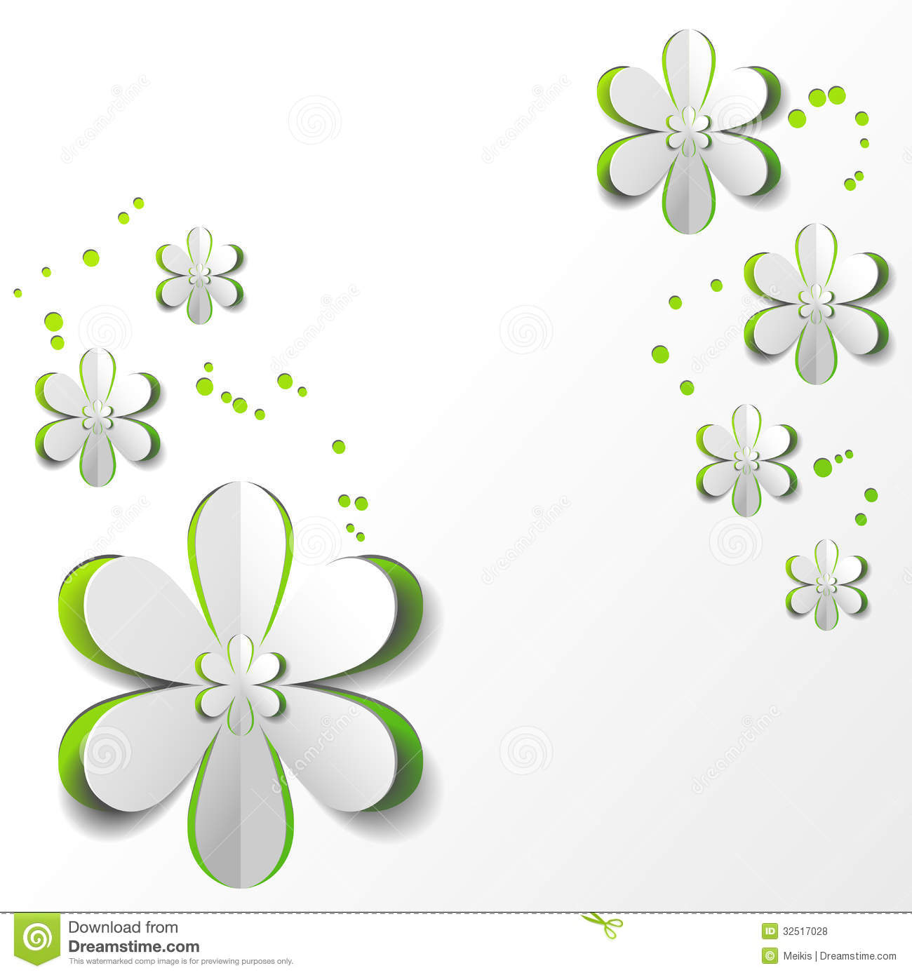 Green and white floral pattern - photo#46