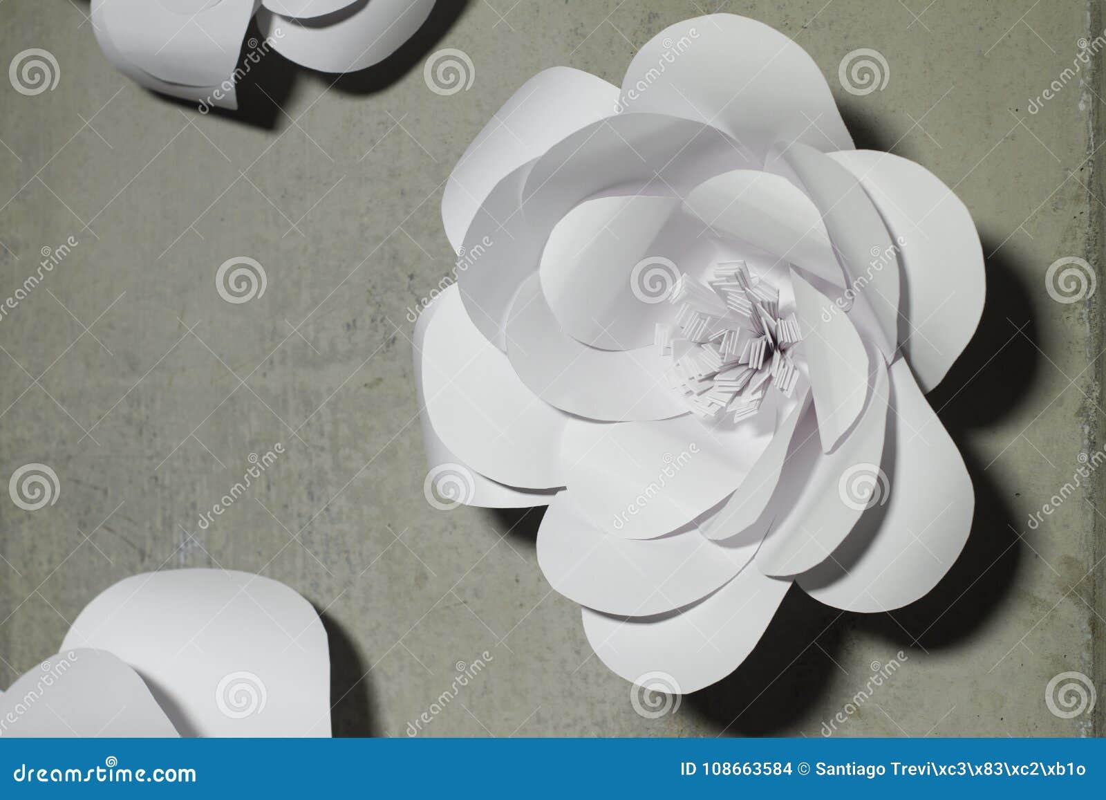 White Paper Flowers Background Wedding Decoration Stock Photo